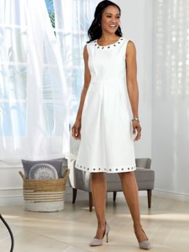 Grommet Accented Denim Dress