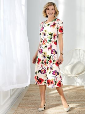 Floral Print Textured Dress
