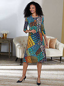 Faux Wrap Print Dress