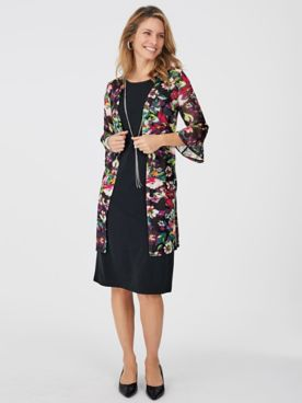 Floral Jacket Dress with FREE Necklace