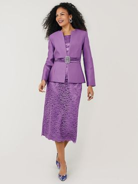 3-Pc. Lace Skirt Suit