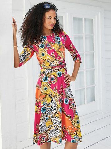 Koret® Three-Quarter Sleeve Side-Knot Dress - Image 1 of 5
