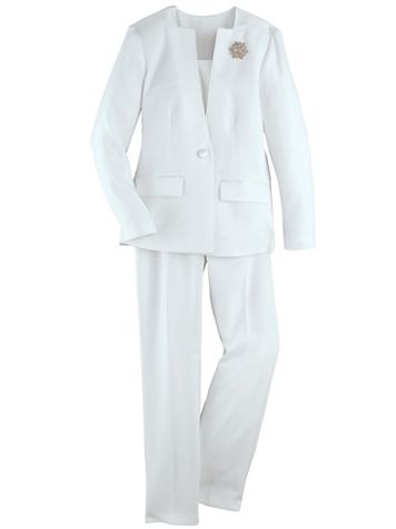 Koret® 2-Pc. Pants Suit with FREE Brooch - Image 2 of 2