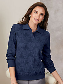 Alfred Dunner® Long-Sleeve Jacquard Polo Top