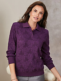 Alfred Dunner® Long-Sleeve Jacquard Polo Top by Old Pueblo Traders