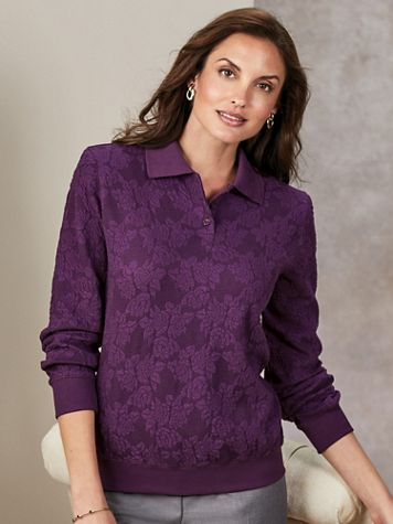 Alfred Dunner® Long-Sleeve Jacquard Polo Top - Image 4 of 4