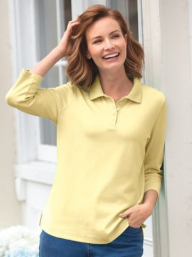 Essential Cotton Knit 3/4-Sleeve Polo