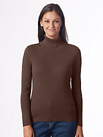 Solid Ribbed Cotton Turtleneck Sweater by Appleseed's