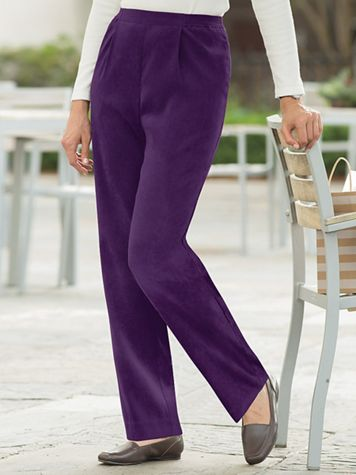Suedecloth Flat-Front Pull-On Pants - Image 1 of 6