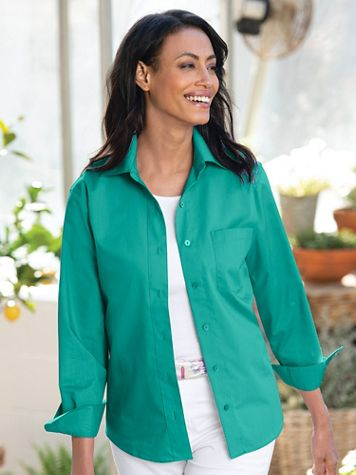 Foxcroft® Classic-Fit Wrinkle-Free Long-Sleeve Shirt - Image 1 of 13