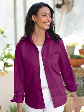 Foxcroft® Classic-Fit Wrinkle-Free Long-Sleeve Shirt - Image 1 of 19