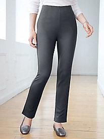Ponte Stripe Straight-Leg Pull-On Pants