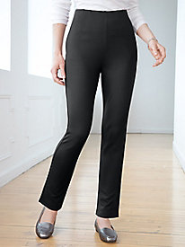 Ponte Stripe Straight-Leg Pull-On Pants