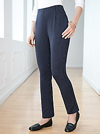 Ponte Stripe Relaxed-Leg Pull-On Pant