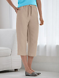 Silk Linen Pull-on Capri Pants
