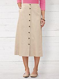 Silk Cotton Easy-On Twill Skirt