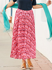 Print Cotton Silk Easy-On Broomstick Skirt