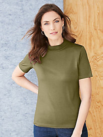 Pure Silk Short Sleeve Mockeck