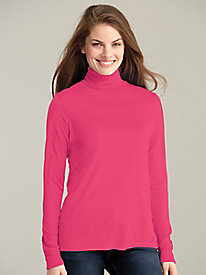 Pure Silk Rib Cuff Mid-weight Turtleneck