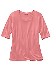 Elbow-sleeve Scoopneck Tee in Silk Cotton