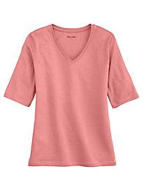 Elbow Sleeve V-Neck Tee in Silk Cotton