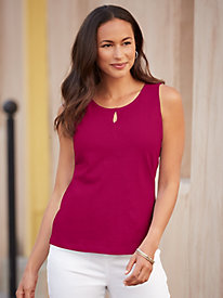 Linen Cotton Tank with Keyhole Detail