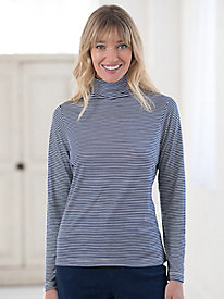Mid-weight Long-Sleeve Stripe Funnelneck