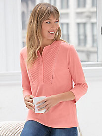 Linen Cotton 3/4-Sleeve Henley Popover