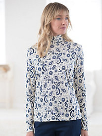 Washable Silk Print Long Sleeve Mockneck