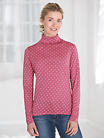 Silk Mid Weight Long Sleeve Dot Funnelneck