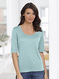 Pure Silk Solid Elbow Sleeve Scoopneck Tee