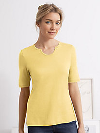 Elbow Sleeve Silk Cotton Notch Neck Tee