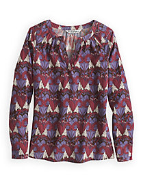 Gathered Neck PerfectSilk Print Blouse