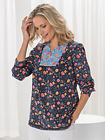 Silk Fuji Mixed Print Popover