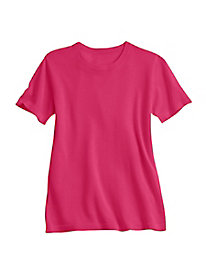 Fine Gauge Silk Cotton Short Sleeve Crewneck Sweater