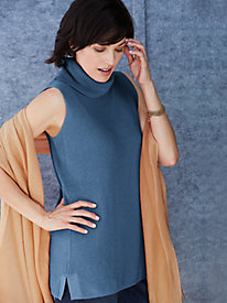 Cotton Silk Relaxed Turtleneck Sleeveless Sweater