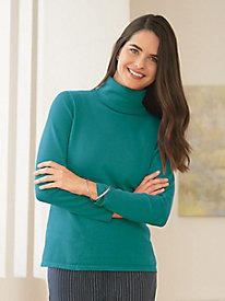Fine Gauge Silk Cotton Turtleneck Sweater