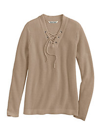 Cotton Lace-Up Sweater
