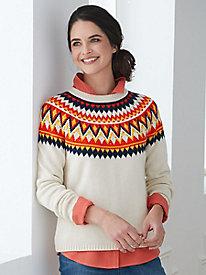 Cotton Wool Fair Isle Pullover Sweater