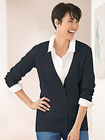 Silk Cotton Cable Button Front Cardigan