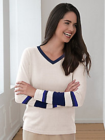 Silk Cotton Fine-Gauge Long-Sleeve Stripe V-Neck Sweater