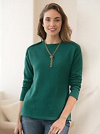 Solid Silk Cotton Envelope Shoulder Pullover Sweater