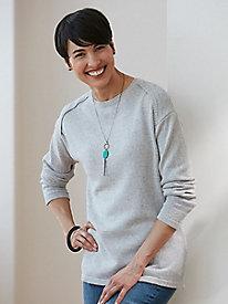 Marled Silk Cotton Envelope Shoulder Pullover Sweater