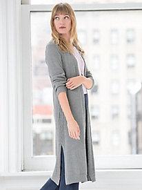 Long-sleeve Cotton V-neck Open Cardigan Sweater