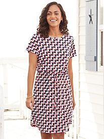 Crisscross Back Print Knit Dress