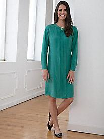 Long-Sleeve Silk Fuji Solid Dress