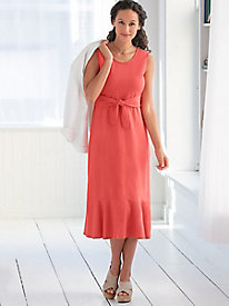 Sleeveless Cotton Modal Knit Tie-Front Dress