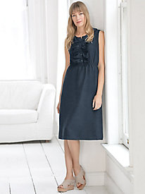 Sleeveless Silk Linen Eyelet Ruffle Dress