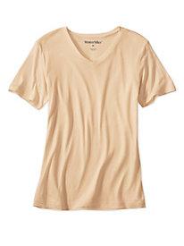Ladies' Short Sleeve V-Neck Top in Lightweight Washable Silk