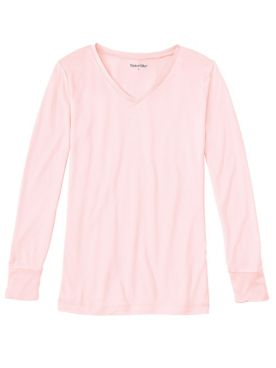Ladies' Long Sleeve V-neck Top in Lightweight Washable Silk
